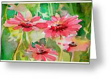 Spring Daisies In The Pink Greeting Card by Mindy Newman
