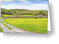 Spring Farm Landscape With Dirt Road And Dandelions Maine Greeting Card by Keith Webber Jr