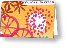 Spring Floral Invitation- Greeting Card Greeting Card by Linda Woods