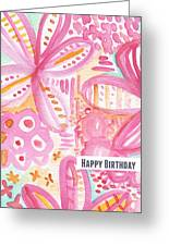 Spring Flowers Birthday Card Greeting Card by Linda Woods