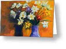 Spring Flowers In A Vase Greeting Card by Patricia Awapara