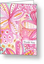 Spring Flowers Thank You Card Greeting Card by Linda Woods