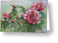 Spring Flowers Wet With Dew Drops Original Canadian Pastel Pencil Greeting Card by Aeris Osborne
