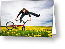 Spring Has Sprung - Bmx Flatland Artist Monika Hinz Jumping In Yellow Flower Meadow Greeting Card by Matthias Hauser