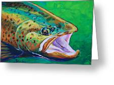 Spring Time Brown Trout- Fly Fishing Art Greeting Card by Mike Savlen
