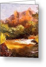 Springs In The Desert Greeting Card by Gail Kirtz
