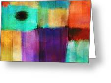 Square Abstract Study Three Greeting Card by Ann Powell