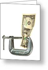 Squeezing The Dollar Greeting Card by Olivier Le Queinec