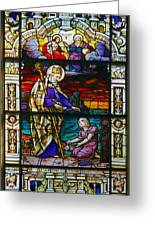 St Augustine By The Sea Shore Talking To A Child Greeting Card by Christine Till
