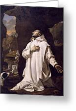 St Bruno Praying In Desert Greeting Card by Nicolas Mignard