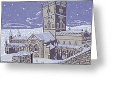 St David s Cathedral in the Snow Greeting Card by Huw S Parsons