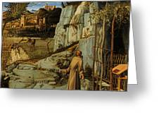 St Francis Of Assisi In The Desert Greeting Card by Giovanni Bellini