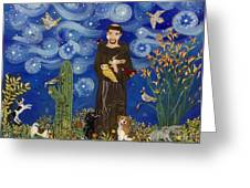 St. Francis Starry Night Greeting Card by Sue Betanzos