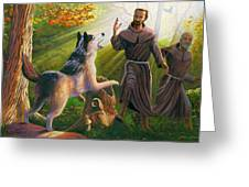 St. Francis Taming The Wolf Greeting Card by Steve Simon