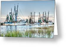 St. Helena Island Shrimp Boats Greeting Card by Scott Hansen