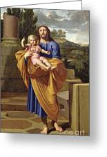 St. Joseph Carrying The Infant Jesus Greeting Card by Pierre  Letellier