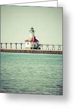St. Joseph Lighthouse Vintage Picture  Greeting Card by Paul Velgos