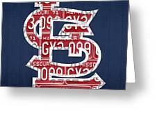St. Louis Cardinals Baseball Vintage Logo License Plate Art Greeting Card by Design Turnpike