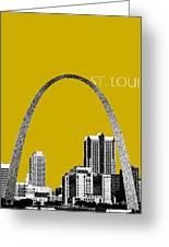 St Louis Skyline Gateway Arch - Gold Greeting Card by DB Artist