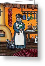 St. Pascual Making Bread Greeting Card by Victoria De Almeida