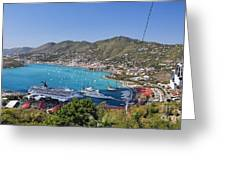 St Thomas Panorama Greeting Card by George Oze