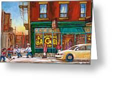 St. Viateur Bagel-boys Playing Street Hockey In Laneway-montreal Street Scene Painting Greeting Card by Carole Spandau