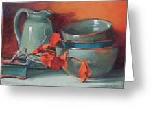 Stacked Bowls #4 Greeting Card by Jean Crow