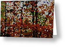 Stained Glass Autumn Colors In The Forest Greeting Card by Lanjee Chee