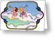 Stained Glass Cherubs Greeting Card by Sarah Batalka