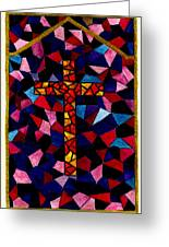 Stained Glass Cross Greeting Card by Michael Vigliotti