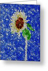 Stained Glass  Sunflower Over The Blue Sky Greeting Card by Lanjee Chee