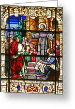 Stained Glass Window Saint Augustine Preaching Greeting Card by Christine Till