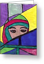 Stained Glass Woman Greeting Card by Debbie Wassmann