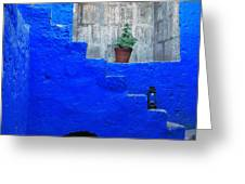Staircase in blue courtyard Greeting Card by RicardMN Photography