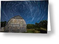 Star Trails Over Barn Greeting Card by Paul Freidlund