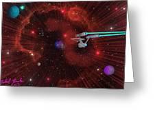 Star Trek - Punch It  Greeting Card by Michael Rucker