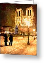 Stardust Over Notre Dame De Paris Cathedral Greeting Card by Mark Tisdale