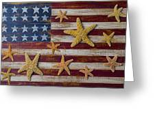 Starfish On American Flag Greeting Card by Garry Gay