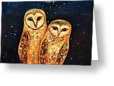 Starlight Owls Greeting Card by Shijun Munns