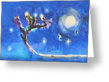 Starry Tree Greeting Card by Pixel  Chimp