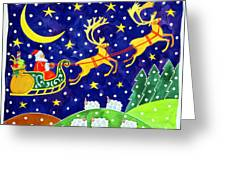 Stars And Snowfall Greeting Card by Cathy Baxter