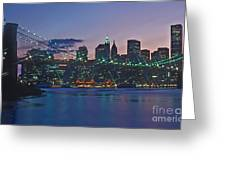 Stars Brooklyn Bridge Greeting Card by Bruce Bain