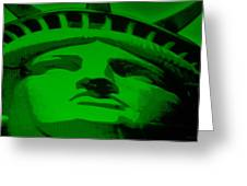 STATUE OF LIBERTY in GREEN Greeting Card by ROB HANS