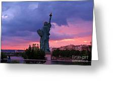 Statue Of Liberty In Paris Greeting Card by John Malone