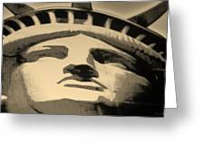 Statue Of Liberty In Sepia Greeting Card by Rob Hans