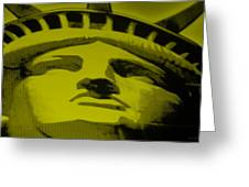 Statue Of Liberty In Yellow Greeting Card by Rob Hans