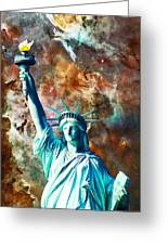 Statue Of Liberty - She Stands Greeting Card by Sharon Cummings