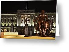 Statues View Of Buckingham Palace Greeting Card by Terri  Waters