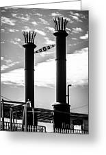 Steamboat Smokestacks Black And White Picture Greeting Card by Paul Velgos