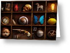 Steampunk - A Box Of Curiosities Greeting Card by Mike Savad
